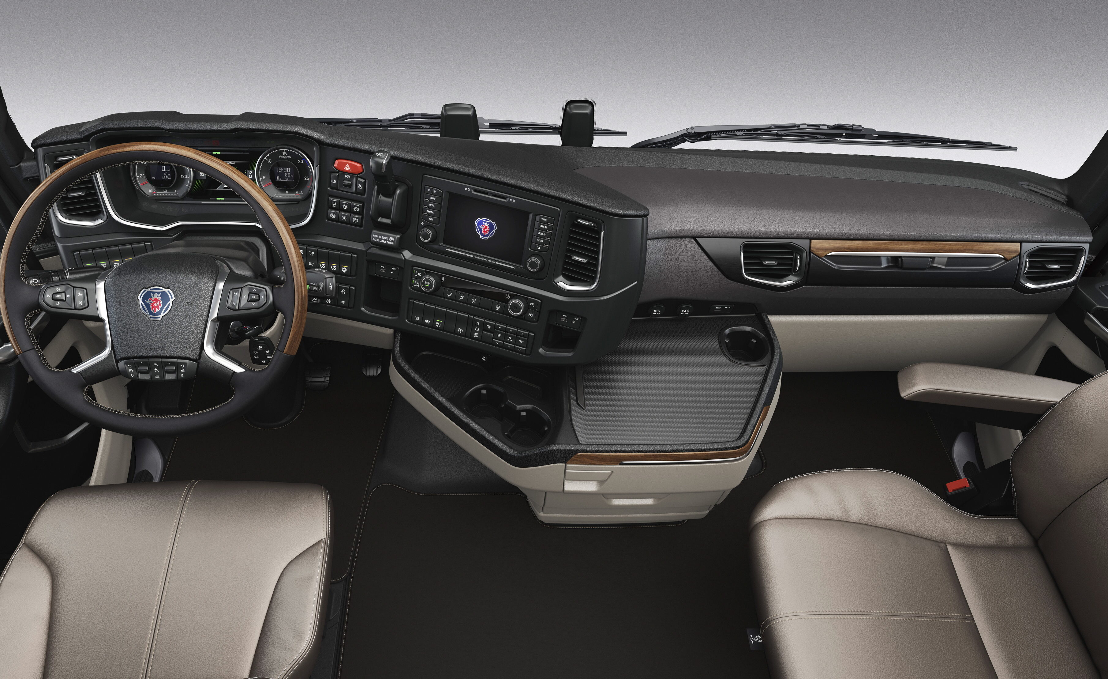Interior of a Scania S-series, wood Photo: Scania 2017